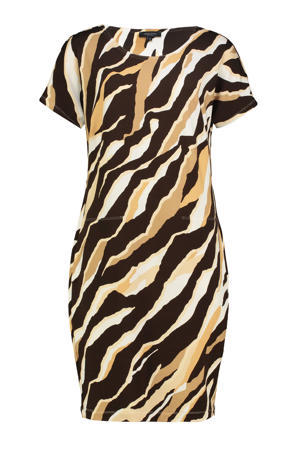 jurk met zebraprint lichtgeel/wit/donkerbruin