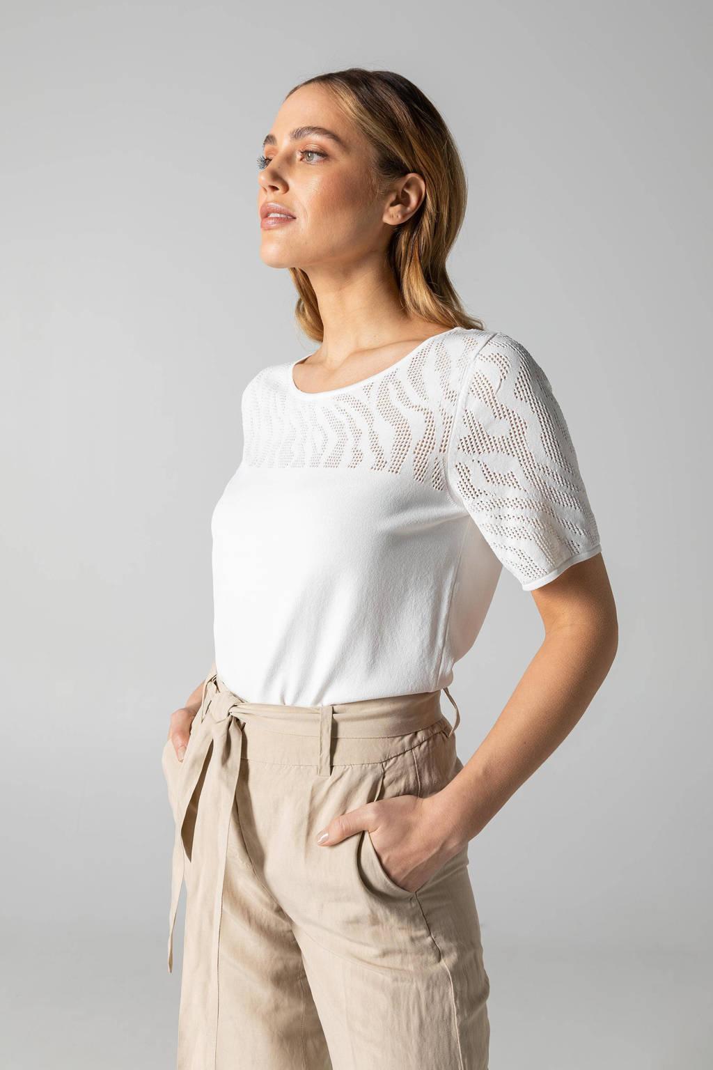 Claudia Sträter T-shirt met open detail wit, Wit