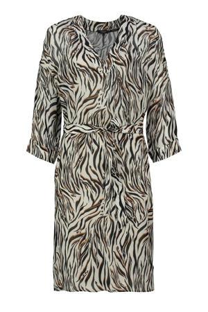 jurk met zebraprint grijsgroen/zwart/bruin