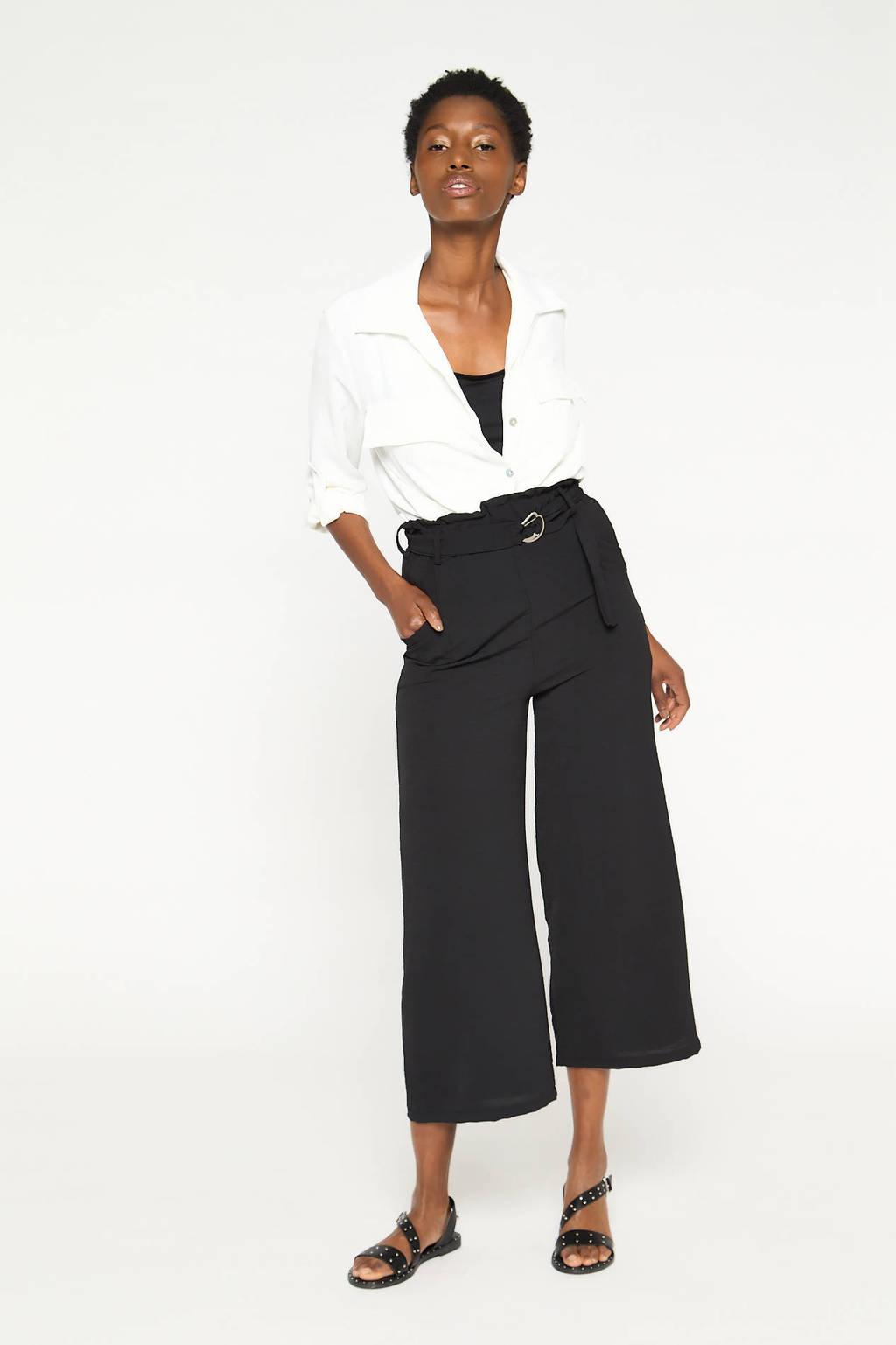 LOLALIZA high waist wide leg palazzo broek zwart, Zwart