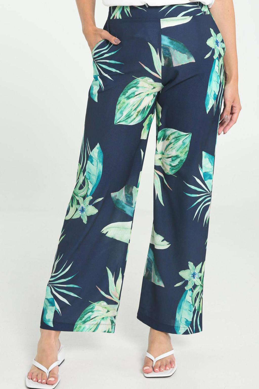 Cassis wide leg palazzo broek met bladprint donkerblauw/groen, Donkerblauw/groen