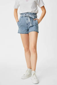 C&A Clockhouse high waist jeans short lichtblauw, Lichtblauw