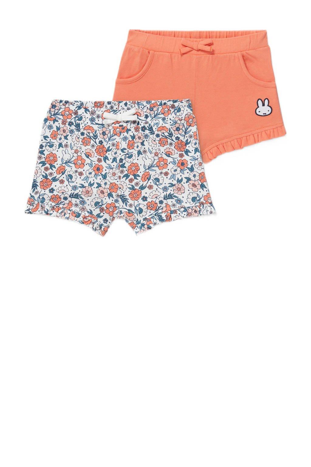 C&A korte broek - set van 2 oranje/blauw/wit, Oranje/blauw/wit