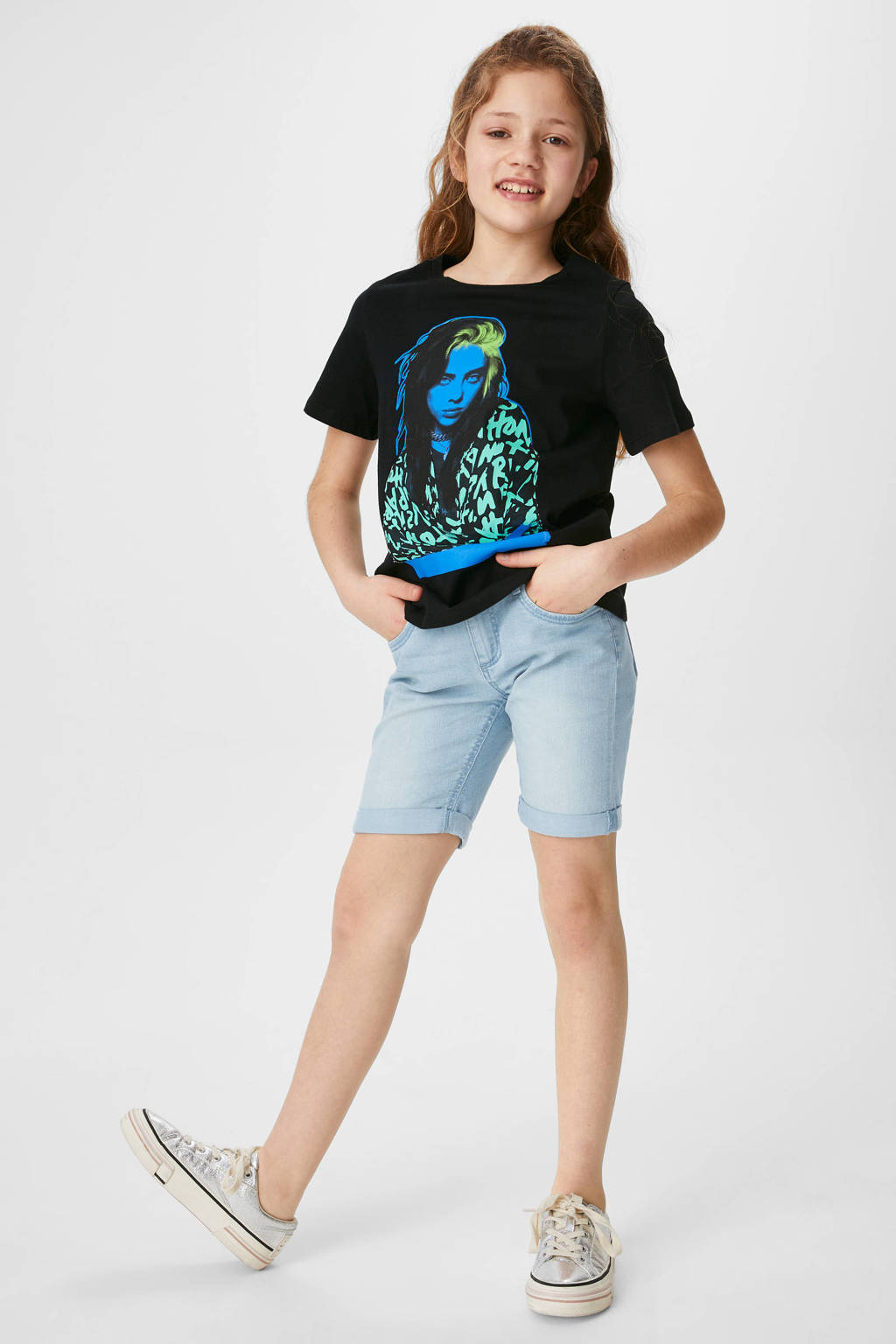 C&A Here & There slim fit jeans short lichtblauw, Lichtblauw