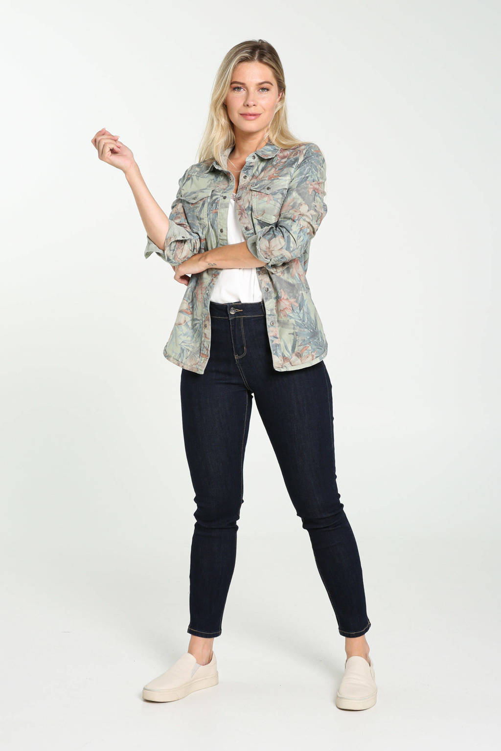 Cassis gebloemde reversible blouse kaki, Kaki