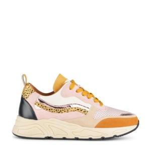 Carocel  sneakers met panterprint oranje/roze