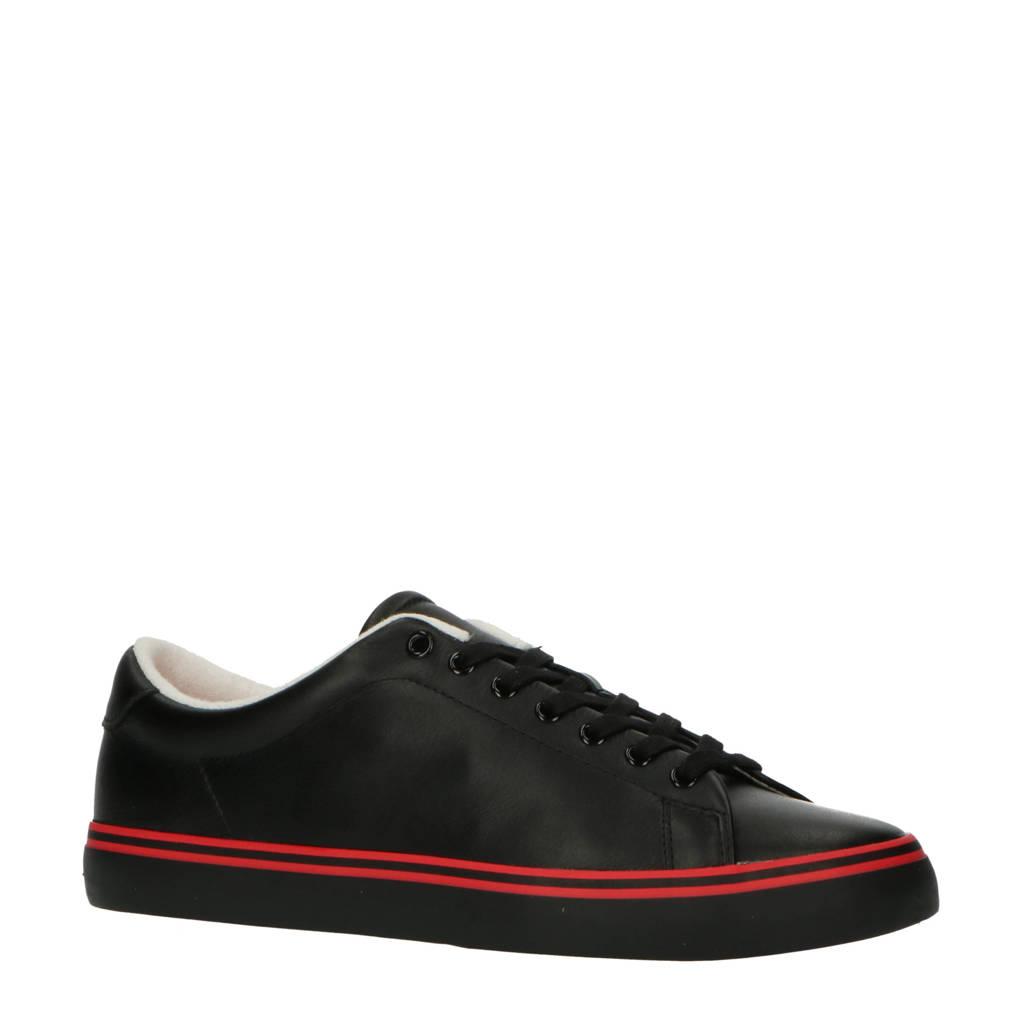 POLO Ralph Lauren Longwood  leren sneakers zwart/rood, Zwart/rood