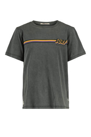 T-shirt Eamon met printopdruk verwassen zwart