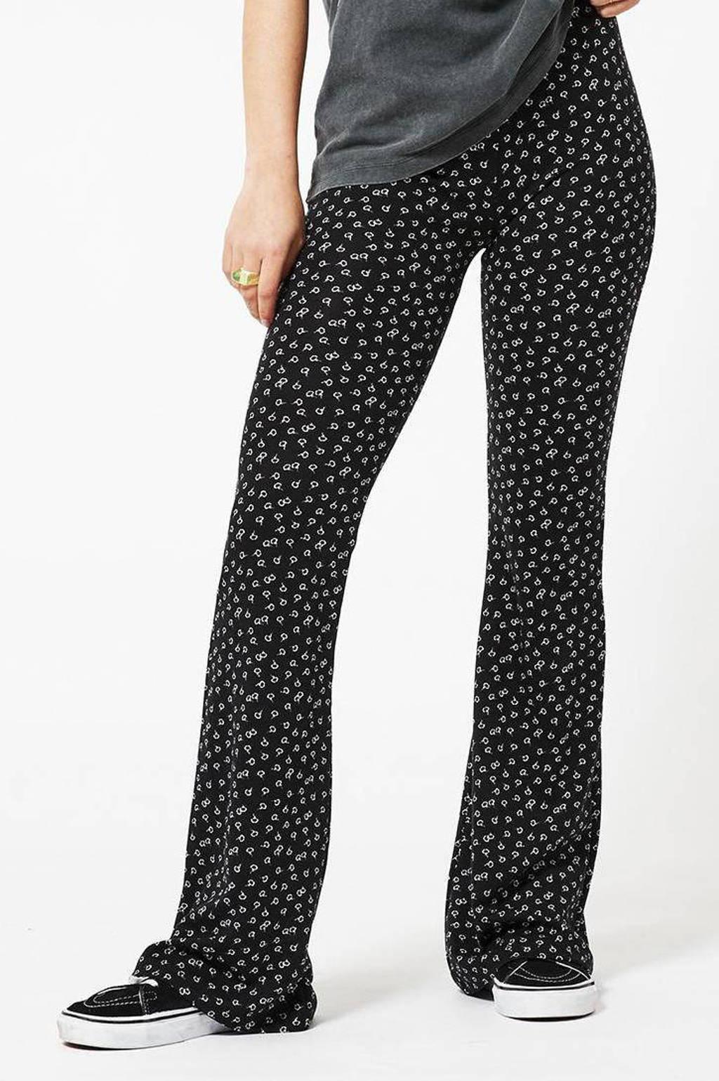 America Today high waist flared broek met all over print zwart, Zwart