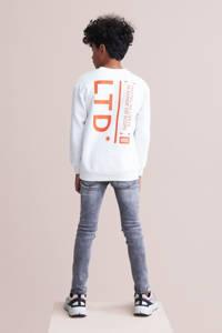 Shoeby Jill & Mitch sweater Elvismet tekst wit/oranje, Wit/oranje