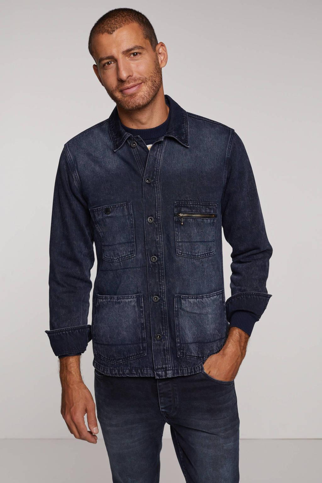Shoeby Refill regular fit overhemd Wes blue/black, Blue/Black
