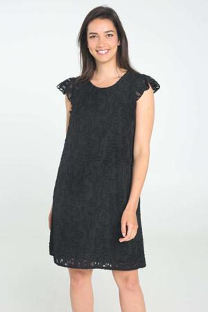 semi-transparante jurk met open detail zwart