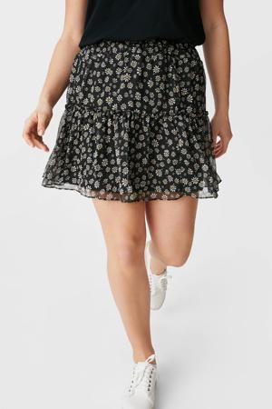 mini rok met all over print en ruches zwart