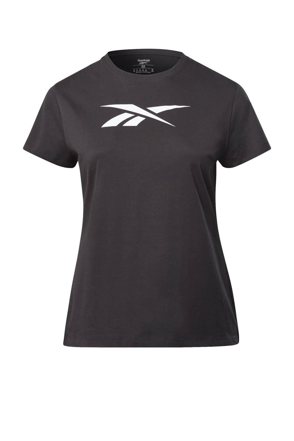 Reebok Training Plus Size sport T-shirt zwart, Zwart