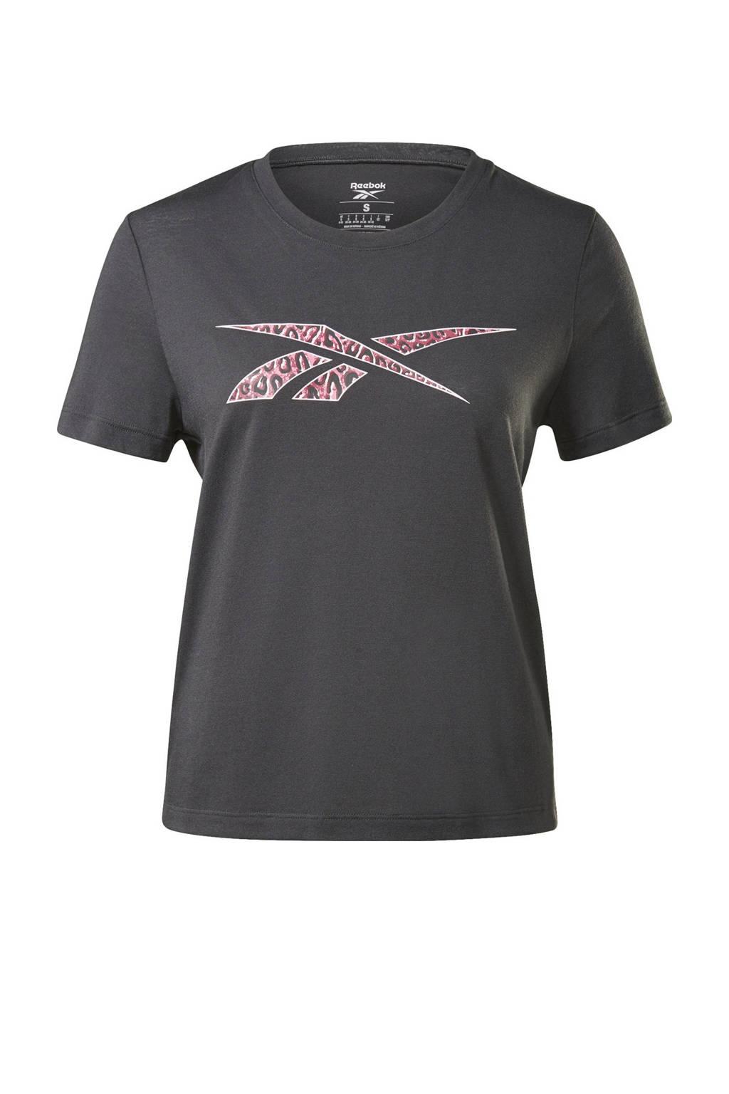 Reebok Training sport T-shirt antraciet/roze, Antraciet/roze