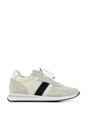 5602018  suède sneakers beige/zwart