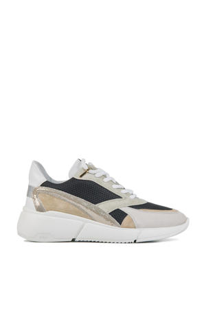 5603029  suède chunky sneakers beige/zwart