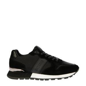 R455 NYL W  suède sneakers zwart
