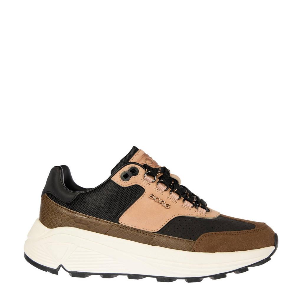 Björn Borg R1300 CTR EXT W  leren sneakers zwart/roze/bruin, Zwart/Bruin/Beige