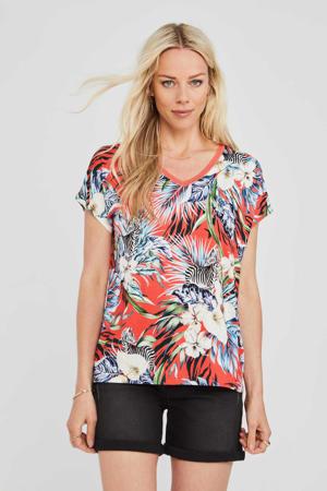gebloemd T-shirt Colour Me In met contrastbies rood/blauw/ecru