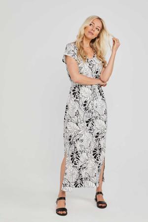 jersey jurk Long Easy T-dress in ecru/zwart