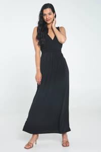 Cassis maxi jurk met plooien zwart, Zwart