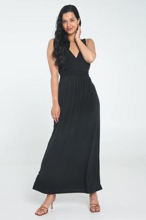 maxi jurk met plooien zwart