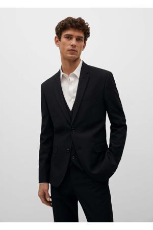 super slim fit colbert van gerecycled polyester zwart