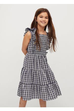 geruite jurk donkerblauw/wit