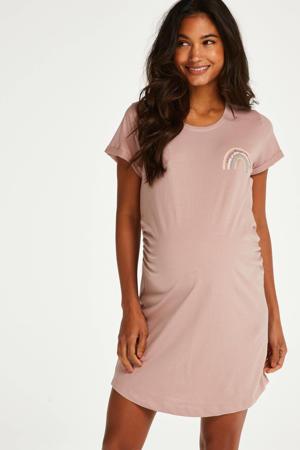 zwangerschapsnachthemd met printopdruk roze