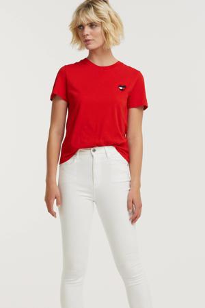 T-shirt TJW REGULAR HOMESPUN HEART TEE van biologisch katoen rood