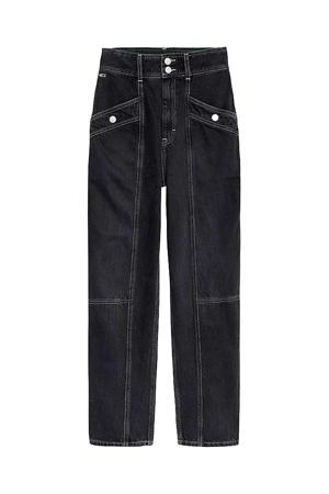 high waist straight fit broek zwart denim