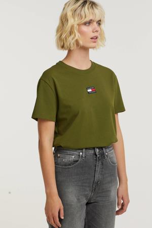 T-shirt TJW TOMMY CENTER BADGE TEE met logo donkergroen