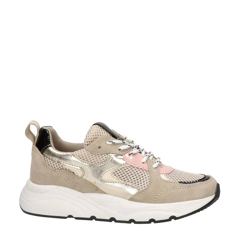 Nelson   suède chunky sneakers beige, Beige/roze