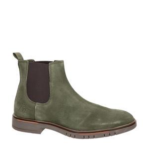 suède chelsea boots groen