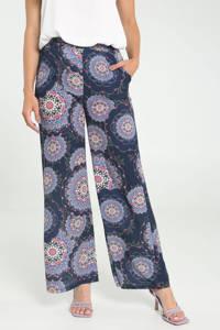 Cassis wide leg palazzo broek met all over print donkerblauw/wit/roze, Donkerblauw/wit/roze