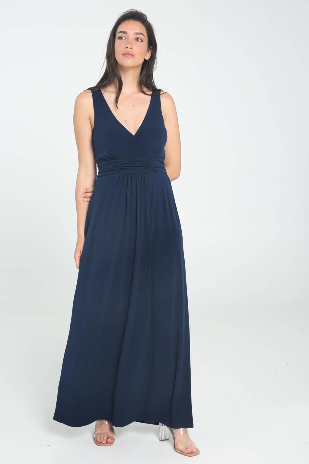 Cassis maxi jurk met plooien donkerblauw, Donkerblauw