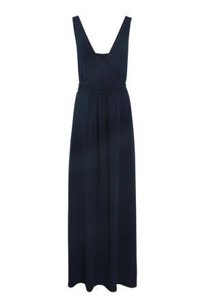 maxi jurk met plooien donkerblauw