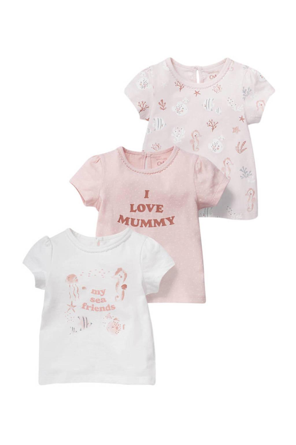 C&A Baby Club T-shirt - set van 3 lichtroze/wit, Roze/wit
