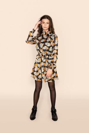 jurk Àimee met all over print bruin/zwart/beige