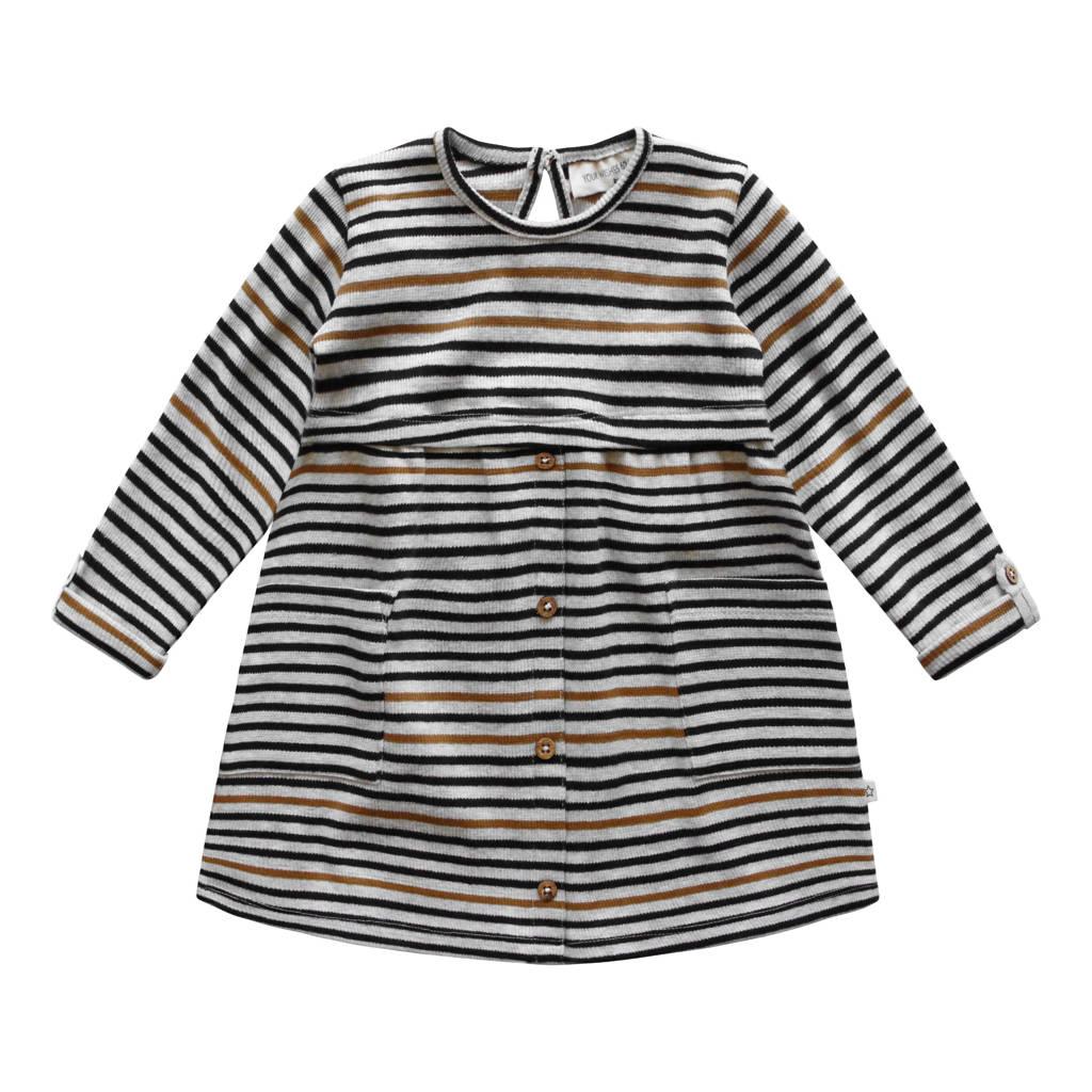 Your Wishes gestreepte jurk Anneliek grijs/zwart/bruin, Grijs/zwart/bruin