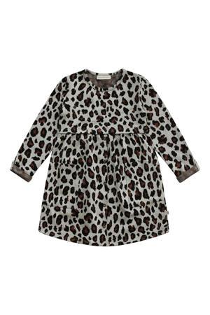 jurk Anneliek met all over print grijs/brique/zwart