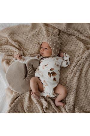 newborn overslag romper Golden Hour off white/lichtbruin/bruin