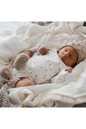 newborn overslag romper Fresh Twigs off white/camel
