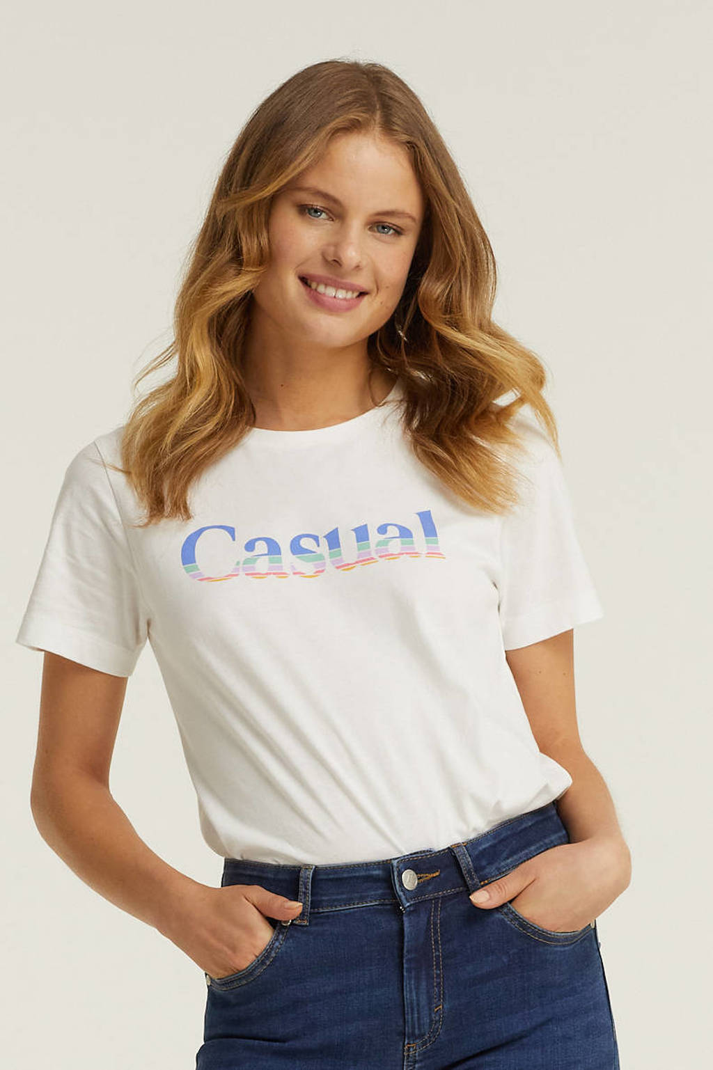 anytime T-shirt met print, Wit