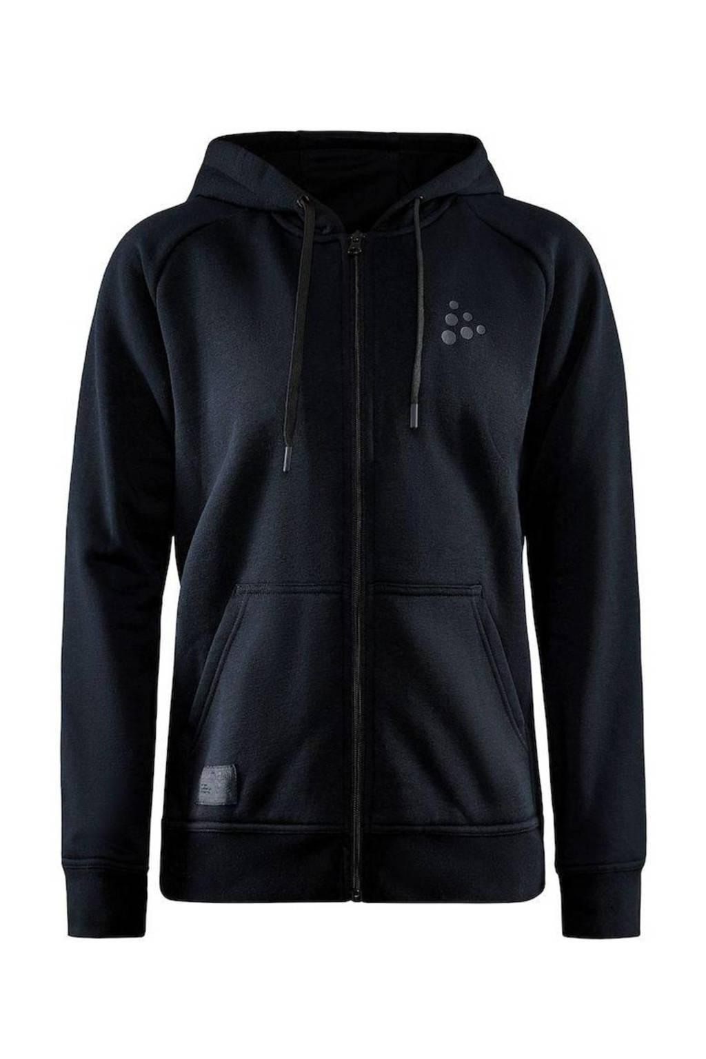 Craft sweatvest met logo zwart, Zwart