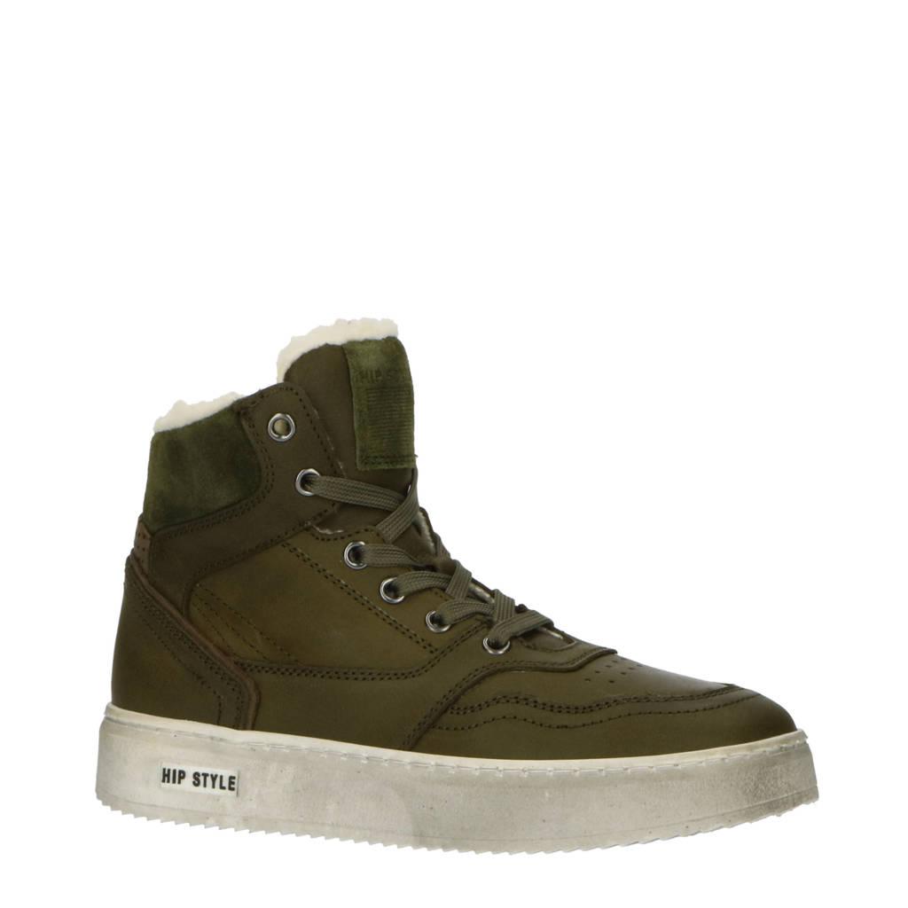 Hip H2535  hoge leren sneakers kaki, Groen/Kaki