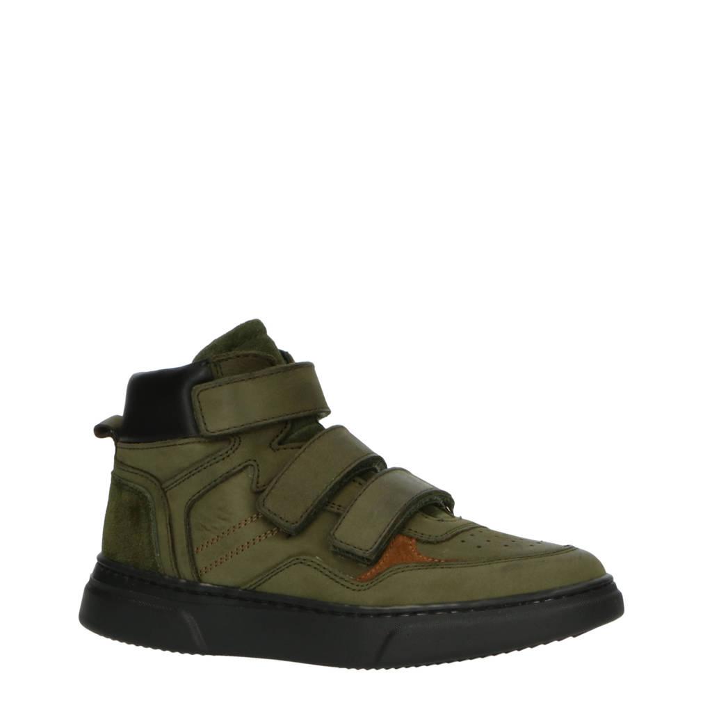 Hip H1484  hoge nubuck sneakers groen, Groen/zwart