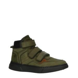 H1484  hoge nubuck sneakers groen