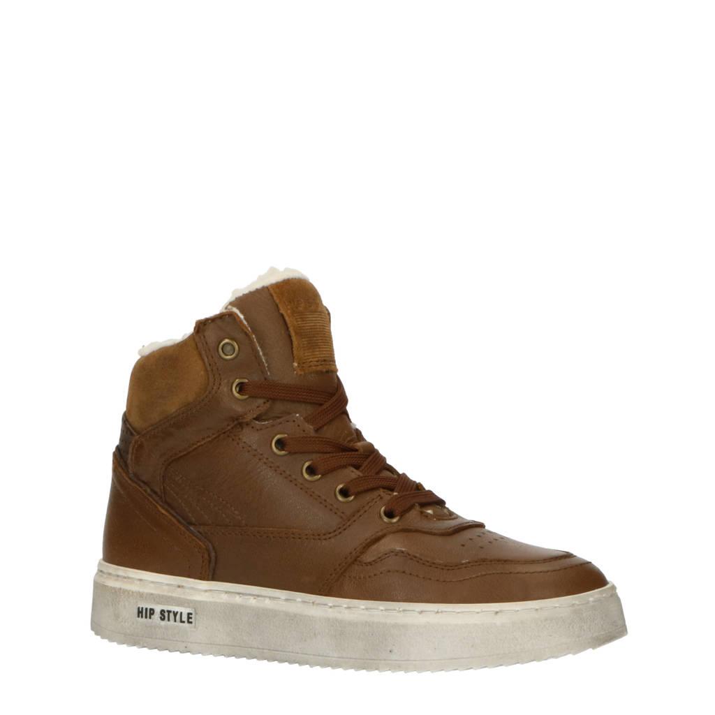 Hip H2535  hoge leren sneakers bruin, Bruin